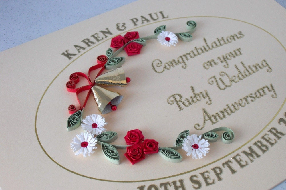 Unusual Ruby Wedding Gifts: Quilled 40th Anniversary Card Ruby Wedding Paper Quilling