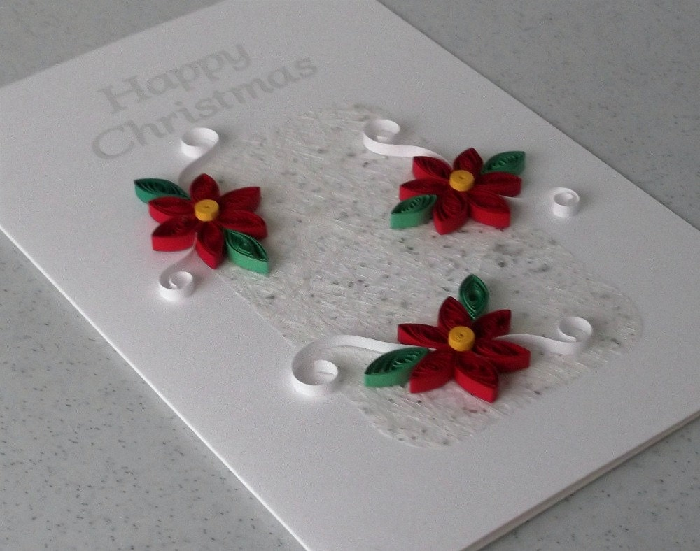 Quilled christmas card handmade paper quilling by for Home made xmas cards