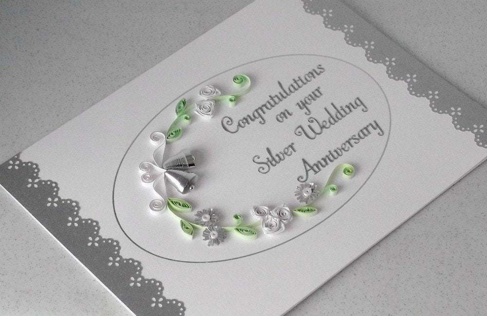 Paper quilling 25th anniversary card silver wedding quilled for Silver wedding dresses 25th anniversary