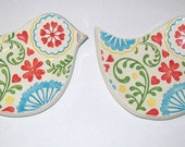 Ceramic bird tea bag holders small spoon rest set of 2