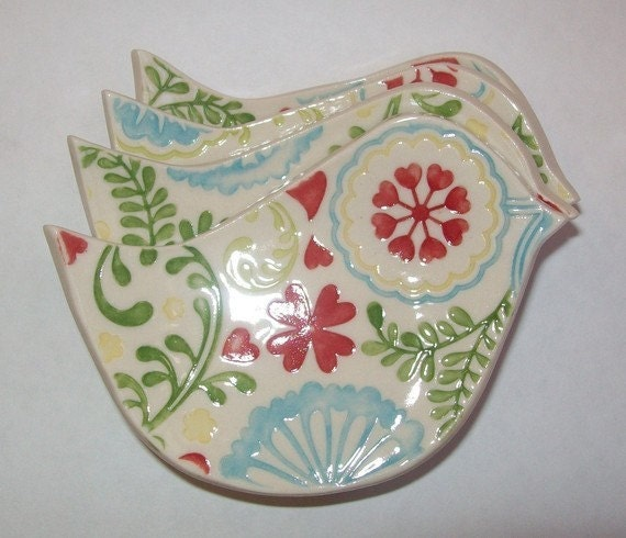 Ceramic Bird Tea Bag Holders Small Spoon Rest Set Of 2