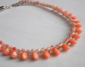 Orange Hearts Necklace