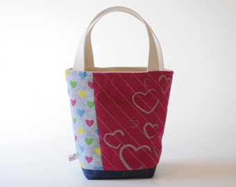 Mini Tote, Pink Stripes with Metallic Hearts
