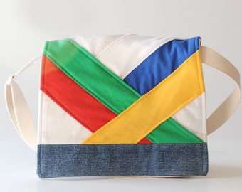 Messenger Bag, Rainbow Origami