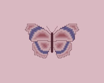 Violet and Mauve Butterfly Cross Stitch Pattern PDF Digital Download