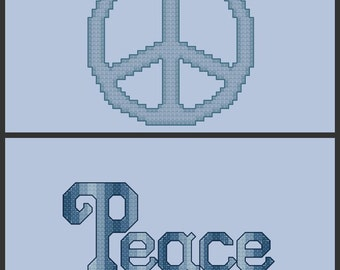 Set of Two Peace Cross Stitch Patterns PDF Digital Download