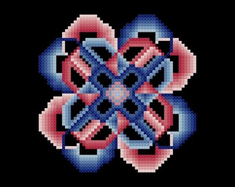 Red and Blue Crazy Circles Easy Cross Stitch Pattern PDF Digital Download