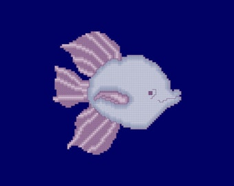 Purple and Violet Tropical Fish Cross Stitch Pattern PDF Digital Download