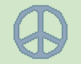 Blue Peace Sign Cross Stitch Pattern PDF Digital Download