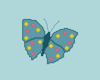 Turquoise Spotted Butterfly Cross Stitch Pattern PDF Digital Download