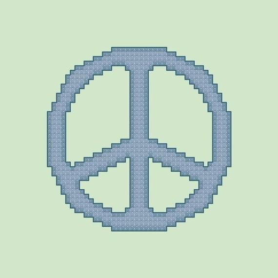 Blue Peace Sign Cross Stitch Pattern PDF Digital Download