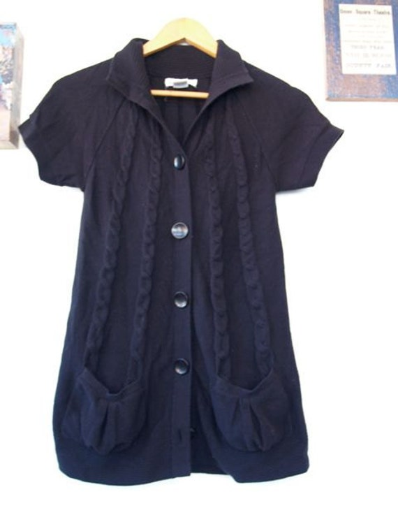 Spring Cardigan, short sleeve,black with pockets