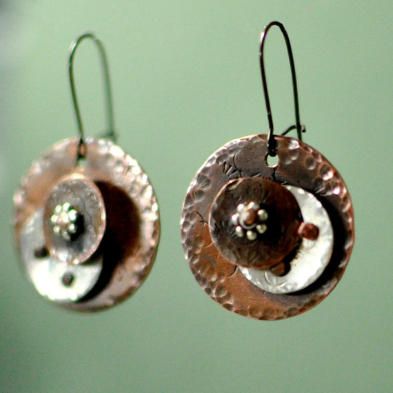 Copper and Sterling Silver Moon Earrings - Riveted Earrings - Textured Dangles - Silver and Copper