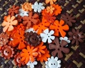 Cute Flower Buttons - Assorted shape and colour - Orange Tone - 30 buttons Only 3.45 USD