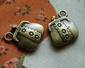 Snap purse brass charm - 10 ITEMS - pendant - Antique looking -