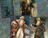 Instant Download Digital Printable Collage Sheet - ATC 2.5 x 3.5 size - Christmas - Santas Set 2