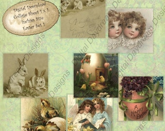 Instant Download Digital  Printable Collage Sheet 1 x 1 Inchies size - Easter Set 1
