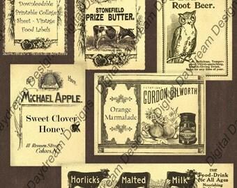 Instant Download Printable Collage Sheet - Vintage Food Ads Set 1