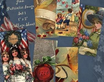 Instant Download Digital Printable Collage Sheet 1 x 2 size - Patriotic Images Set 1