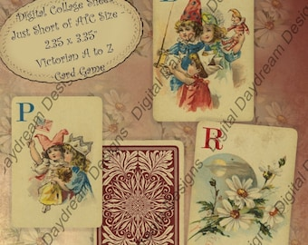 Instant Download Digital Printable Collage Sheet - Just a Tad Smaller than ATC ACEO Size 2.35 x 3.35 size - Victorian A to Z Card Game
