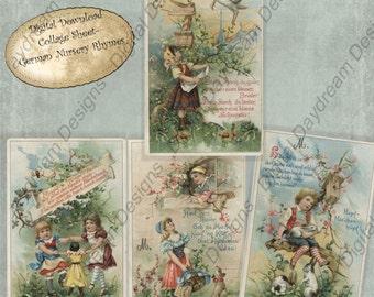 Instant Download Printable Digital Collage Sheet - German Nursery Rhymes