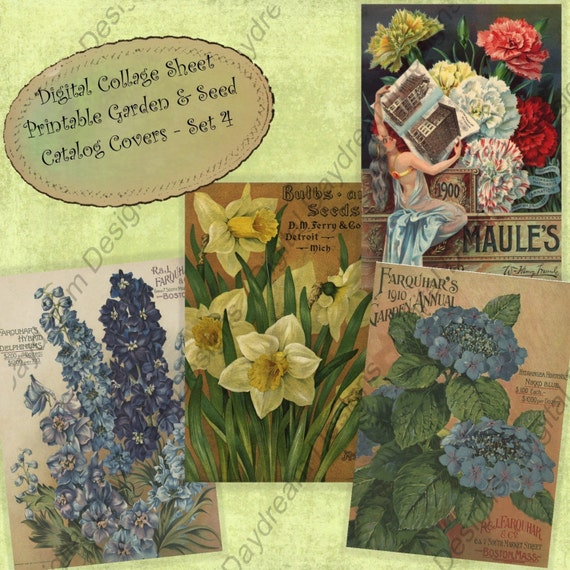 Instant Download Printable Garden Seed Catalog Cover Collage Sheet Set 4