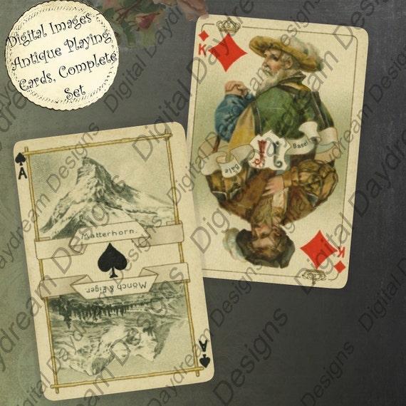 Instant Download Printable Superb Set of Vintage Playing Cards Collage Sheet