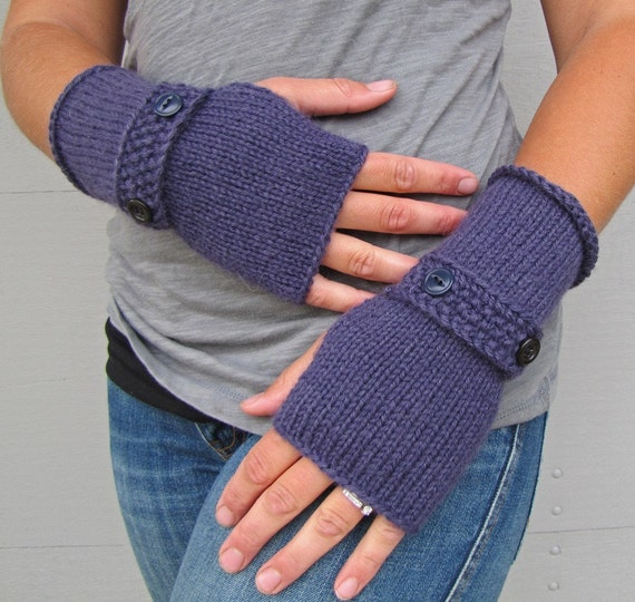 fingerless glove sleeves eggplant purple with strapping staps