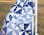 Baby Patchwork Quilt - Blue Whimsy Pinwheels