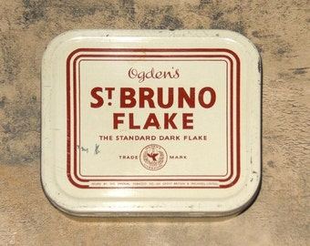 Ogden's Tobacco Tin, Vintage St. Bruno Flake Tin, Vintage Tobacco Tins, Tin, Tobacco Collectibles, Tobacciana by NewYorkMarketplace on Etsy