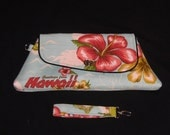 Made to Order - Hawaii Clutch Purse with wrist strap - Choice of lining