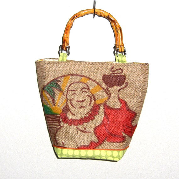Made to Order - Buddha's Cup Coffee Bag Purse with Bamboo Handles