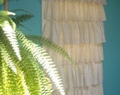 Burlap and Cotton Ruffled Curtain