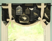Bird Cage Print Butterfly Swag in Black/Ivory