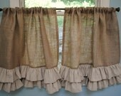 Burlap Ruffled Cafe Curtain