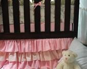 Ruffled Stripes and Pink Crib Skirt