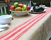 Red Stripe Burlap Table Cover