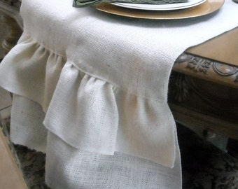 Ivory Burlap Table Runner