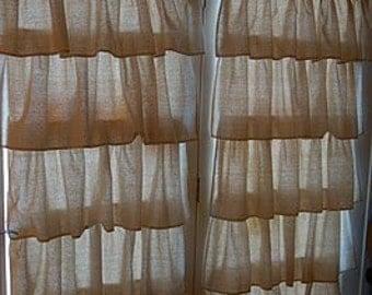 Osnaburg Ruffled Curtains