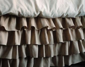 Ruffled Linen Crib Skirt