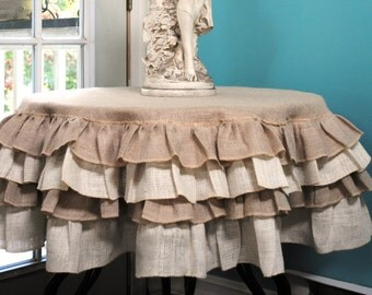 Ruffled Burlap Tablecloth By Paulaanderika On Etsy