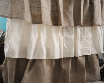 Burlap and Cotton Ruffled Curtain