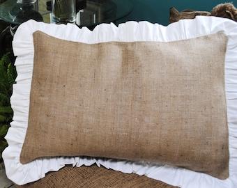 Burlap Pillow with Ruffle Edge