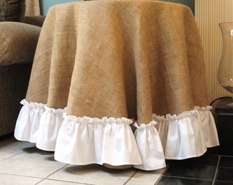 Burlap Table Cover with White Ruffle Edge