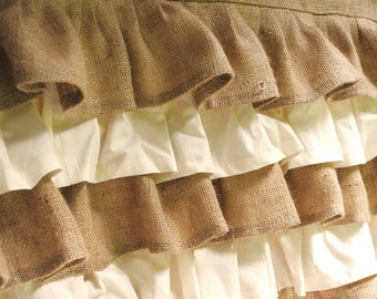 Cream and Natural Ruffled Burlap Valance