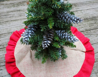 Christmas Burlap Tree Skirt with Red Ruffle Trim