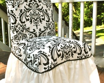 Black Damask Chair Slipcover