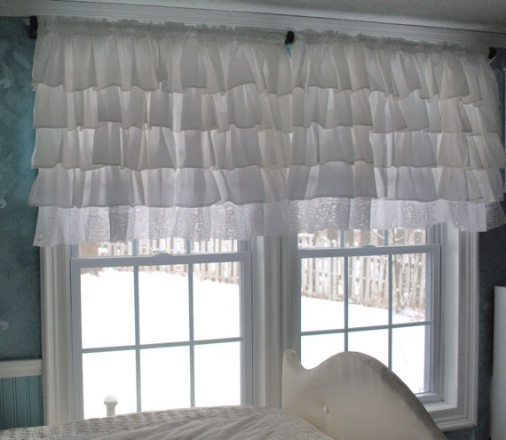 White Ruffle Curtain with Lace Trim