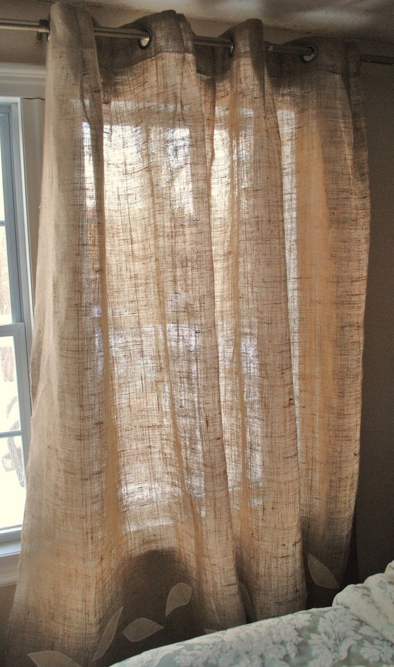 Burlap curtain panel with grommets by paulaanderika on etsy for Cortinas para cocina rustica