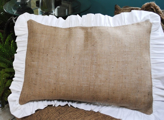 Throw Pillows With Ruffle Edge : Burlap Pillow with Ruffle Edge